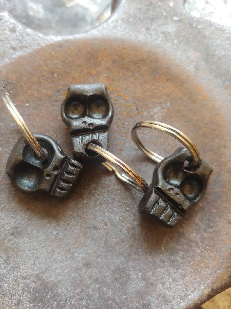 Hand forged steel skull Skull key chain fob Blacksmith made.