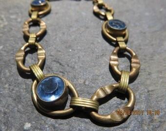 Art Deco Brass Bracelet with Blue Stones Great Design