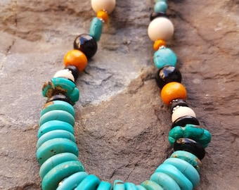 Chunky Turquoise & Wooden Beaded Statement bib Necklace