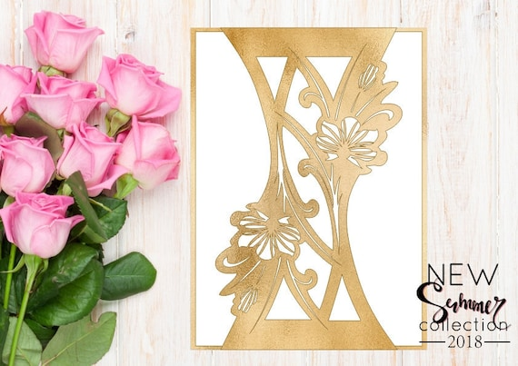 Wedding Invitation Card Template Chinese Flowers Studio V3 Svg Lasercut Download Silhouette Cameo Circuit Vector