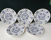 Johnson Brothers Saxony Plates Compliments Nordic Blue Onion Pattern, Bread and Butter Plates, Stoke-on-Trent Set of 5