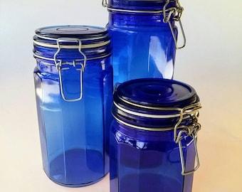 Merveilleux Blue Canister Set | Vintage Canister Set, Lockable Lid Kitchen Canister  Set, Cobalt Blue Glass, Kitchen Storage, Retro Canisters, Sealable