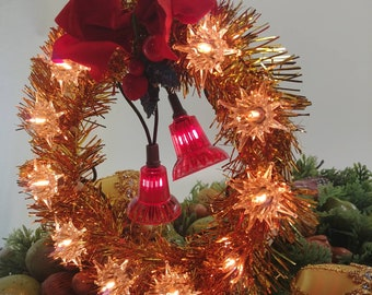 Vintage Christmas Tree Topper 12 Light Gold And Red Christmas Tree Topper Tree Top Ornament Lighted Tree Topper Vintage Christmas
