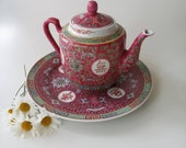 Vintage Chinese Teapot and Plate Mun Shou Chinese Porcelain, Longevity Jingdezhen, Chinese Famille Rose, Pink Teapot for Tea Lover Gift,