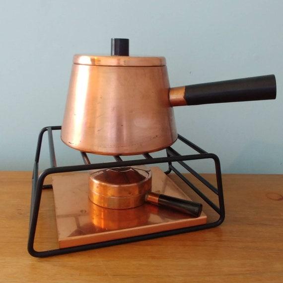 Sigg Copper Fondue Set Borguignonne Fondue Set Swiss Style Fondue Set Mid Century Copperware Chocolate Fondue Party