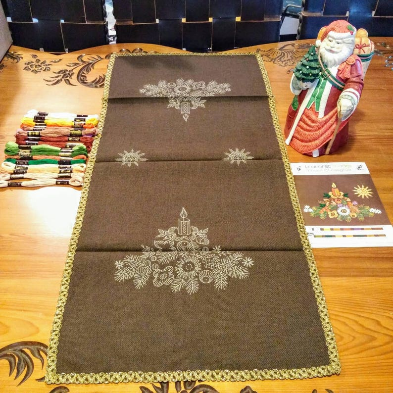 Christmas Embroidery Vintage Table Runner Kit Christmas Etsy