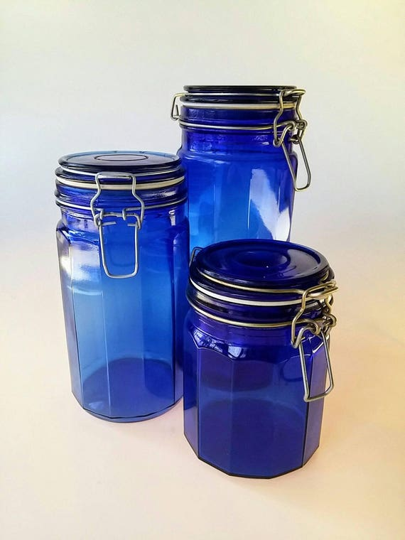 Charmant Blue Canister Set Vintage Canister Set Lockable Lid Kitchen | Etsy