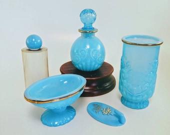 Vintage Blue Bathroom Set   Avon Bristol Blue 5 Piece Set, Blue Soap Dish, Blue Perfume Bottle, Blue Glass Bathroom Accessories, Avon 1975