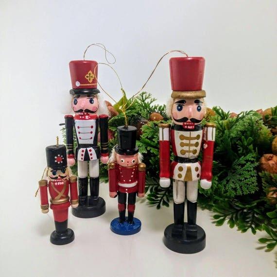 vintage wooden nutcracker christmas tree ornaments set of 4 etsy