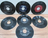 Lot of 7 Vintage Records 1950s and 1960s 45 RPM Records Elvis Presley Bing Crosby The Champs Brenda Byers RCA Victor Records