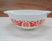 Friendship Pyrex Cinderella Bowl 443 - 2 1 2 Quart Bowl Orange and Red Bird Pyrex Pattern