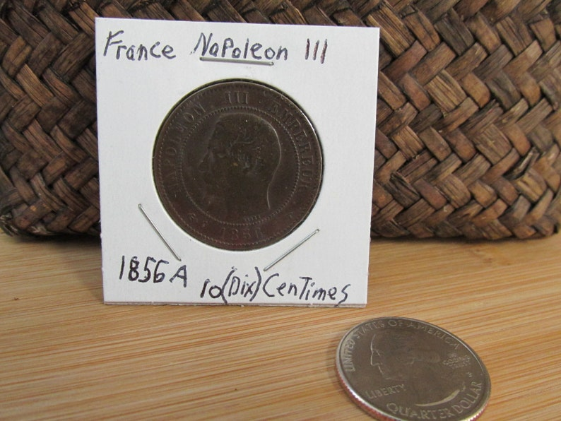 Vintage Foreign Coin/1856 A Frankreich Coin/10 Centimes/Dix/France Napoleon  III