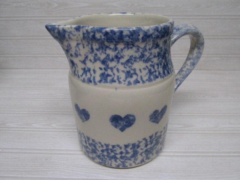 RARE Set Of 4 Henn Pottery Workshops Blue Spongeware With Hearts Coffee Mugs