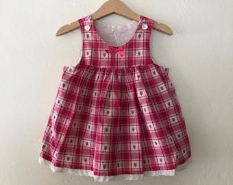 Vintage Baby Girls Plaid Strawberry Dress Size 2T Toddler