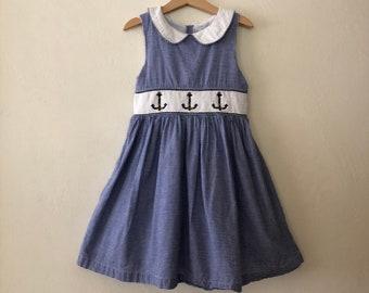b736965a4c305 Vintage Girls Dress, Vintage Girls Sailor Dress, Vintage Kids Dress, Vintage  Sailor Dress Size 5t - 6 years