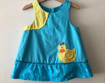 Vintage Girls Cotton Duck Dress, Vintage Little Girls Dress Size 4t