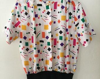Vintage Womens Blouse, Vintage 80s Blouse Top Shirt Size Small - Medium