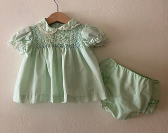 c4e35a31 Vintage Baby Girls Dress Set, Vintage Baby Dress, Vintage Baby Girls Dress  6 - 12 Months