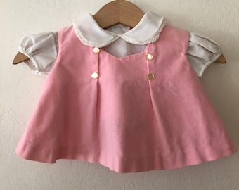 ee0781003631 Vintage Baby Pink Velvet Dress with White Shirt
