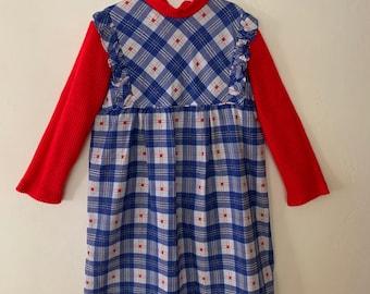 Vintage 1970/'s Red Austrian Girl Dress  8-10 Y