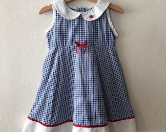 Vintage Toddler Girls Plaid Dress w/ Peter Pan Collar Size 4T
