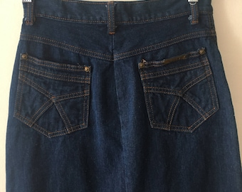 Vintage High Waist Denim Midi Skirt, Vintage High Waisted Skirt Size 4 Waist 25""