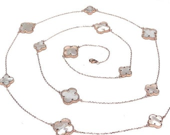 f84bd3a17 Clover Necklace Sterling Silver Rose Gold Plated Genuine 1/2