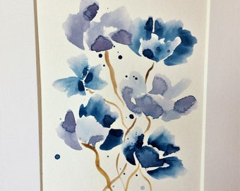 Watercolor Flowers Small Blue Purple