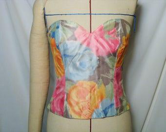 Boned strapless silk taffeta, large pattern flowers, vintage T 38/40