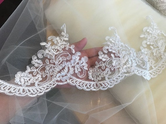 Diy Wedding Veil.5 Yards 15cm Wide Alencon Lace Trim Off White Diy Wedding Dress Wedding Veil Lt07
