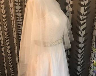 Bridal Cover Up Tulle Bolero, PLAIN, NO Lace, Soft Tulle, White/Off-white/Light Ivory/Champagne__ CU03