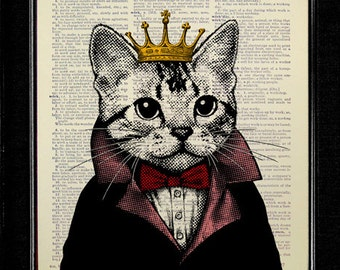 Kitsch Cat Art, Funny CAT ART Print, Cat Painting, Whimsical Painting Print, ANTHROPOMORPHIC Cat Decoration Wall Decal, Cat King Crown Art