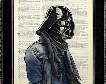 Darth Vader Poster, Darth Vader Art, Darth Vader Print, Darth Vader Wall Art, Darth Vader Wall Decor, Star Wars Room Decor with Jean Jacket