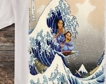 1a7ea3acca88 The Great Wave off Kanagawa Lilo and Stitch Ride wave T shirt Disney style  Tshirt Lilo   Stitch Surfing