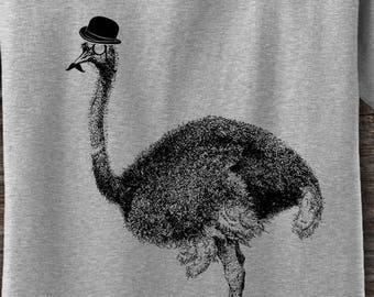 96f0a5562c8c0 Ostrich in a hat Tshirt Ostrich with mustache and Hat T   Etsy