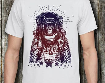 Space Chimp Astronaut Monkey T-shirt Space Astronaut Tee Shirt Summer Short Sleeves Cotton Fashion T Shirt Text Tops & Tees