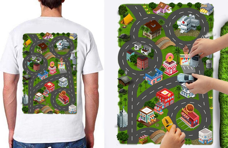 3a8624446 Car Play Mat Shirt for Dad. Race Track Shirt. Playset. Road | Etsy