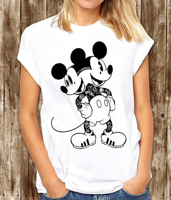 Myszka Miki Tatuażu T Shirt Myszka Miki Z Tatuażem Grunge Mickey Mouse Myszka Miki Punk Dwa Zatytułowany Mickey Pop Art Mickey T Shirt