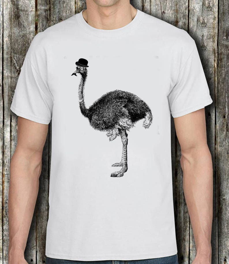 f78670ccaaf39 Ostrich in a hat Tshirt - Ostrich with mustache and Hat T shirt, Ostrich T  shirt Funny Ostrich T shirt