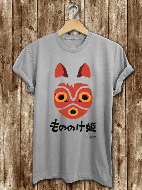 Princess Mononoke Wolf Mask T Shirt Princess Mononoke Etsy