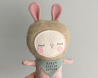 Personalised Bunny Rabbit Unique Handmade Soft Toy Baby Kids Gift, Liberty Of London Fabric