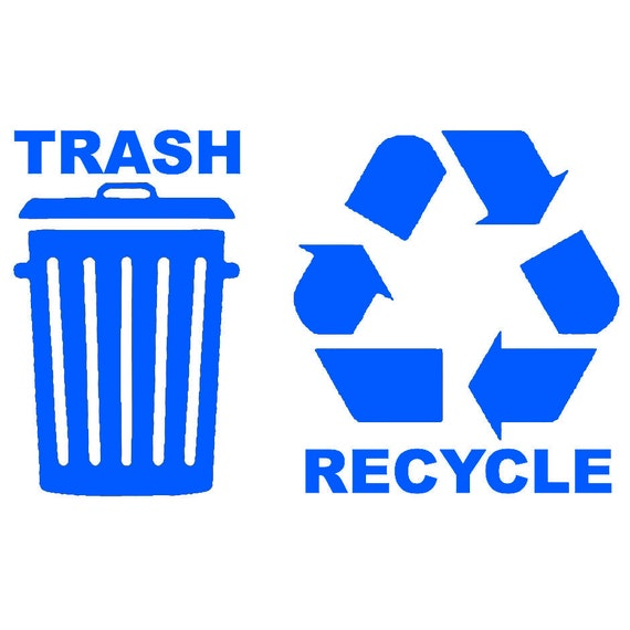 Recycle Symbol Decal 2 Pack Set INDOOR OUTDOOR Stickers Choose Color /& Size