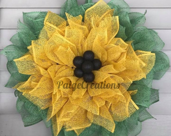 Sunflower wreath, Sunflower poly burlap wreath, burlap wreath, yellow burlap wreath, spring wreath, flower wreath, paper mesh wreath