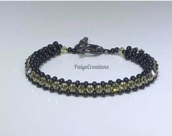 Swarovski Crystal Bracelet, Swarovski bracelet, crystal bracelet, beaded bracelet, black beaded bracelet, black bracelet, yellow bracelet