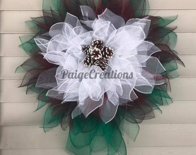 Deco mesh wreath, christmas wreath, flower wreath, deco mesh flower, christmas deco mesh flower wreath, pine cone wreath