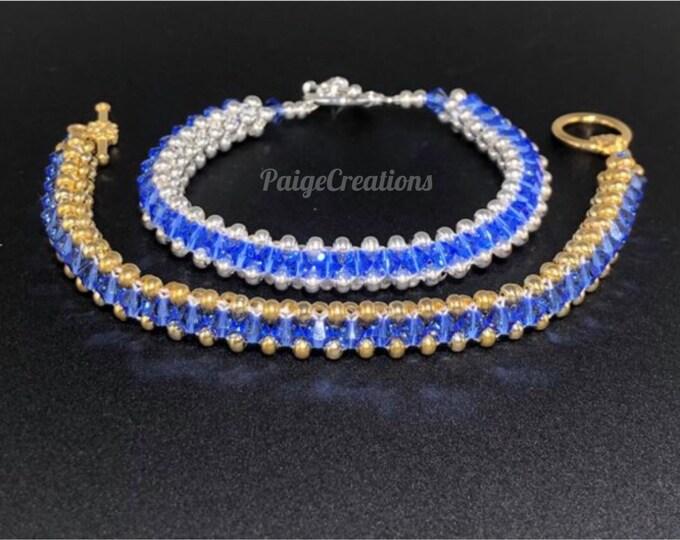 Swarovski Crystal Bracelet, Swarovski Bracelet, crystal bracelet, silver bracelet, beaded bracelet, gold bracelet, Sapphire bracelet