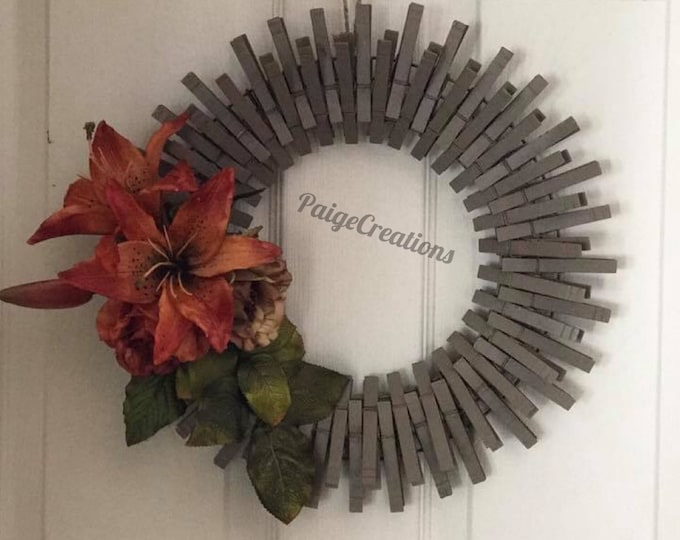 Fall wreath, Fall clothespin wreath, clothespin wreath, lily wreath, flower wreath, hand painted wreath