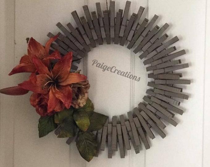 Fall wreath, Fall clothespin wreath, clothespin wreath, lily wreath, flower wreath, hand painted wreath