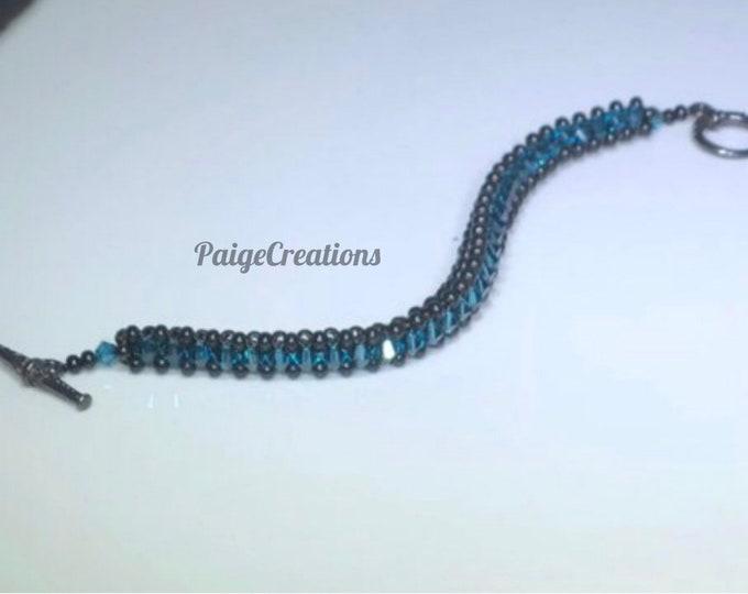Swarovski Crystal Bracelet, Swarovski bracelet, crystal bracelet, black bracelet, black beaded bracelet, beaded bracelet, Blue bracelet