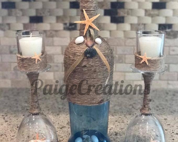 Wine bottle candle holder, coastal candle holder, beach candle holder, wine glass globe, wine glass candle holder, wine bottle decor, candle